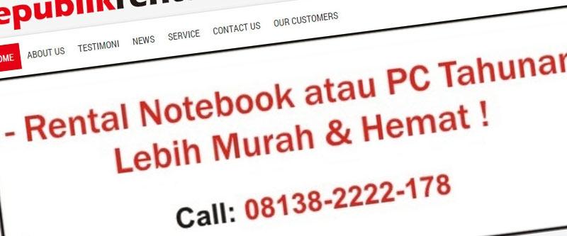 Jasa Pembuatan Website Bandung Murah  Jasa pembuatan website murah Bandung Company Profile Republik Rental