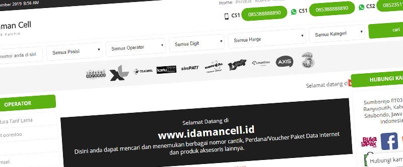 Jasa Pembuatan Website Bandung Murah idamancell.id Jasa pembuatan website murah Bandung Toko Online idamancell.id