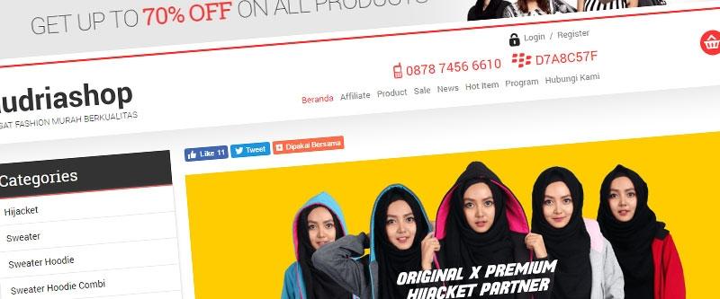 Jasa Pembuatan Website Bandung Murah  Jasa pembuatan website murah Bandung Toko Online Audriashop