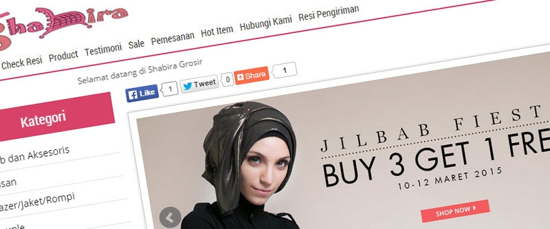 Jasa Pembuatan Website Bandung Murah  Jasa pembuatan website murah Bandung Toko Online Shabira grosir