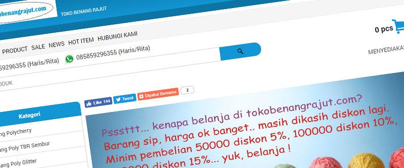 Jasa Pembuatan Website Bandung Murah tokobenangrajut.com Jasa pembuatan website murah Bandung Toko Online tokobenangrajut.com